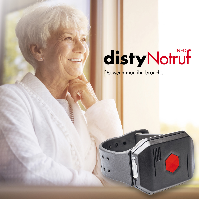 Disty Neo DECT Notrufknopf für DECT Telefone & Router | Notruf privat | DECT Notrufuhr